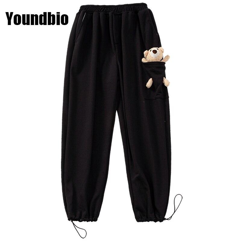 New Cute Harem Men's Trousers Fashion Loose Large Size Bear Decoration Trousers Black Gray Fashion C
