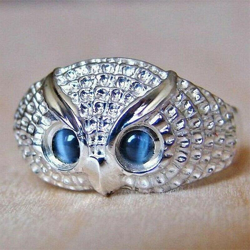 Huitan, bonito anillo de dedo de búho para mujer, Ojos de ópalo de imitación azules, joyería Simple de Animal, accesorios de fiesta con personalidad, Color plateado, nuevo