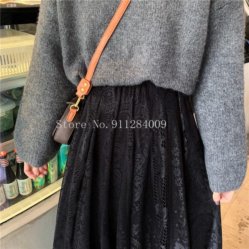 Alien Kitty Elastic High Waist Lace Skirts Womens Spring Autumn 2021 New Korean Elegant Casual A-line Black Long Skirt Female