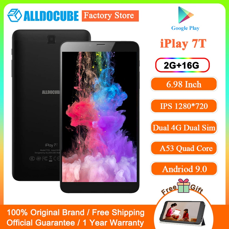 ALLDOCUBE iPlay 7T 4G LTE Phone Call Wifi Tablet PC 6.98 inch HD IPS 1280 x 720 Android 9.0 2GB RAM 16GB ROM Support TF Card