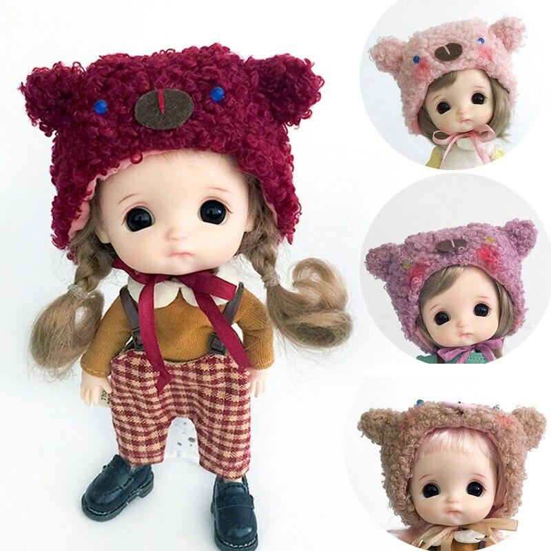 1PCS OB11 BJD Roupa Da Boneca de pelúcia Bonito dos desenhos animados urso hat para ob11,obitsu11,Molly, 1/12bjd boneca Roupas e Acessórios para Bonecas