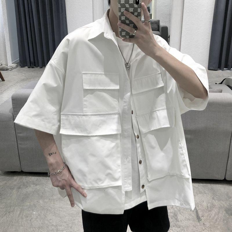 Летняя футболка с карманом Мужская мода черный, белый цвет Повседневная рубашка Мужская Уличная Корейская свободная футболка с коротким ру...
