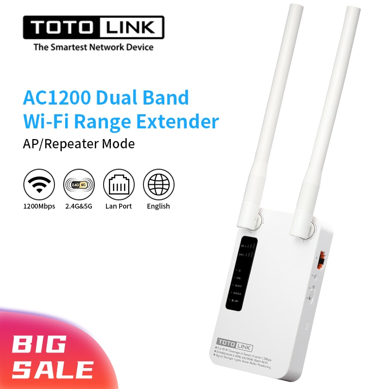 TOTOLINK EX1200M WiFi مكرر AC1200 اللاسلكية WiFi الداعم 2.4G/5Ghz جيجابت واي فاي مكبر للصوت مع منفذ Lan و مكاسب عالية هوائي