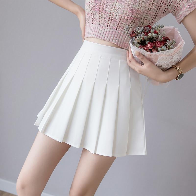 Zoki  Women Pleated Skirt Summer High Waist Chic A Line Ladies Pink Mini Skirt Korean Zipper Preppy Style Girls Dance Skirt