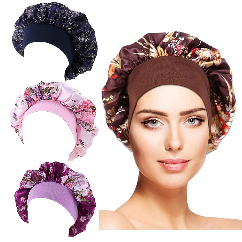 Printing Satin Bonnet For Women Elastic Wide Band Night Sleep Satin Hat Chemo Caps Hair Loss Cover F