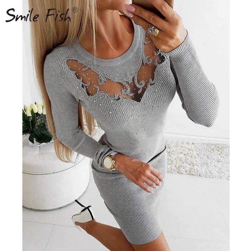 Diamantes Fiesta Club Mini vestido de malla de perspectiva vestido sensual de mujer las mujeres Autunmn invierno Stretch acanalada punto Bodycon traje GV557
