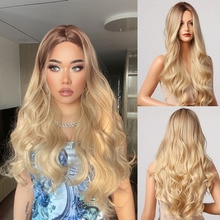 HENRY MARGU Blonde Brown Ombre Synthetic Wigs Long Wavy Cosplay Party Wig for Women Middle Part Natural Daily Heat Resistant Wig