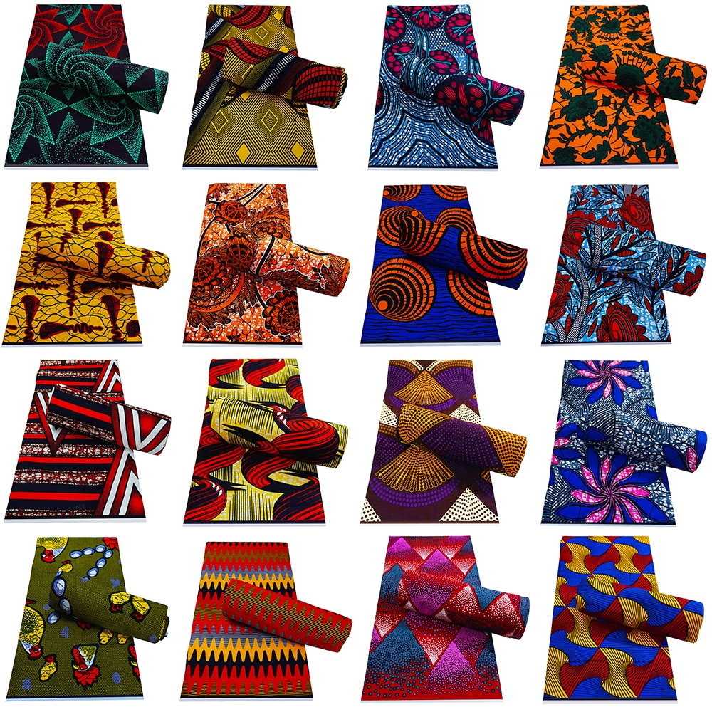 New Guaranteed Veritable 100% Original Real Wax Ankara Fabric 2021 African Print Fabric For Wedding Dress Tissus Coton 6Yards