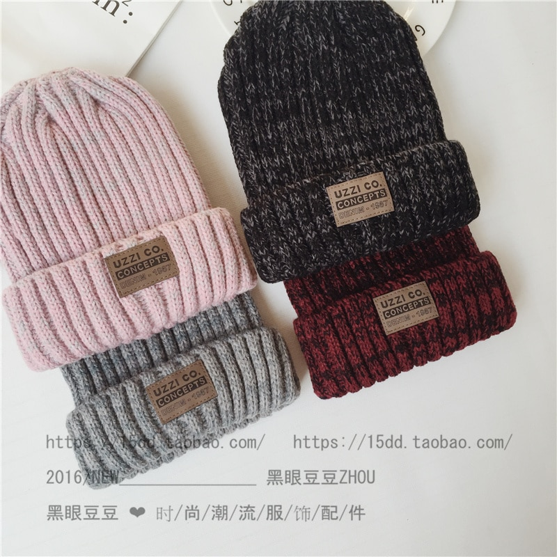 Korean Woolen Women's Autumn Winter Labeling Mixed Color Knitted Hat Sleeve Cap Men's Fashion All-Ma
