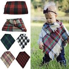 Accessoires pour bébés garçons   Écharpe en laine, à carreaux chauds, Tippet, manteau à franges, châle, vêtements dhiver, pour enfants de 3 à 5 ans