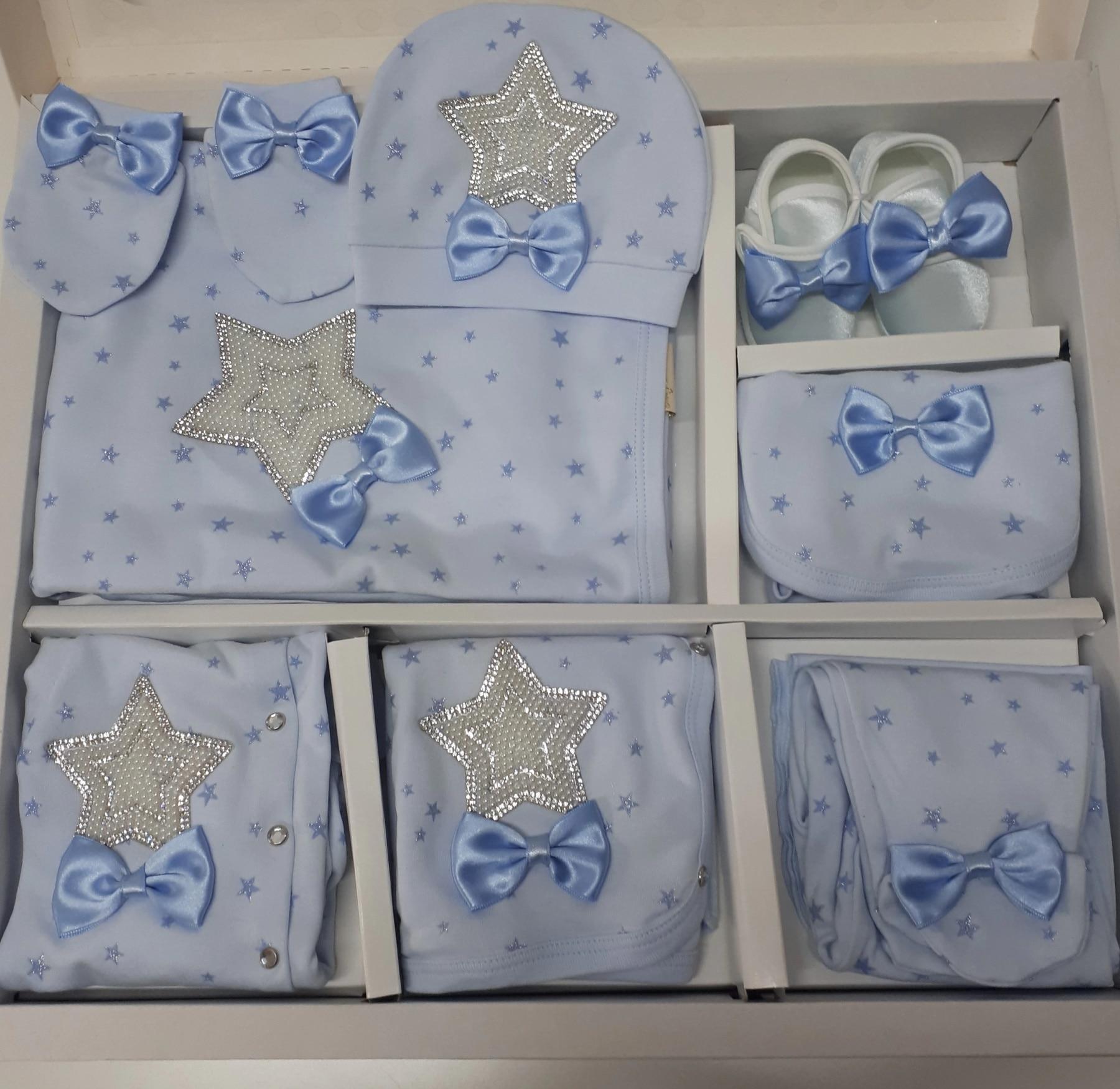 BABY BABY 10 PCS HOSPITAL EXIT SET BLUE WHITE