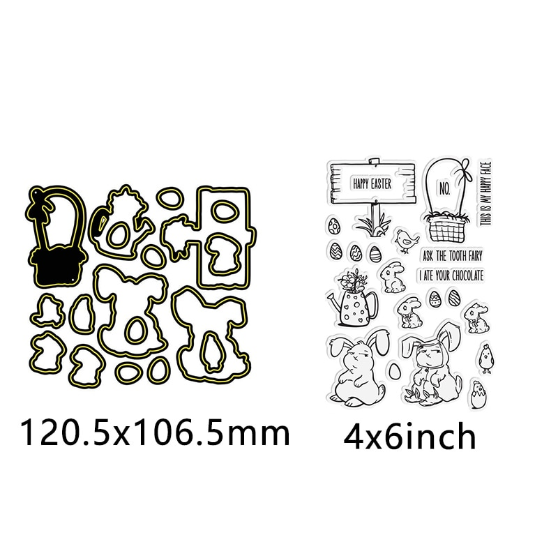 Cute Bunny Warm Blessing Love Words Metal Cutting Dies with Transparent Clear Stamps for Diy Scrapbooking Album Paper Cards  - buy with discount