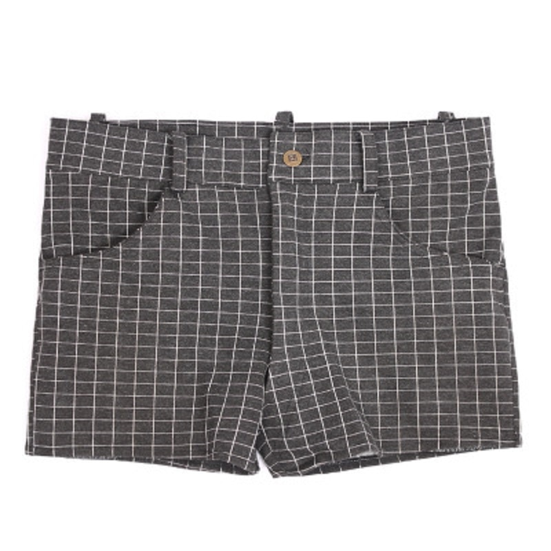 Homens treliça padrão denim shorts casuais poliéster capa de algodão xadrez shorts apertados linho pequeno pé reto denim calças curtas