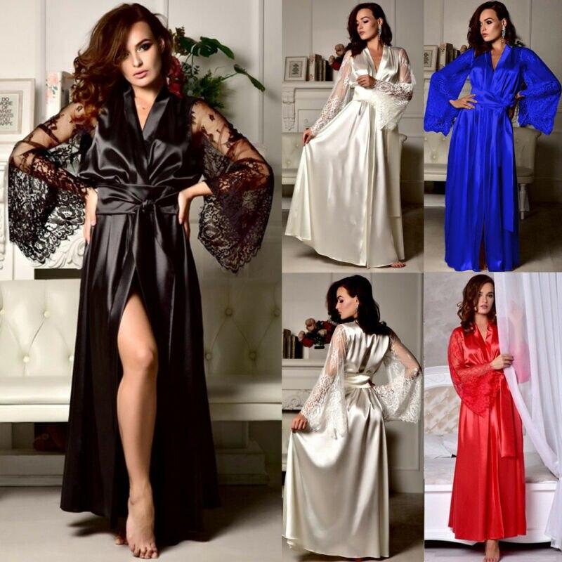 Bata de satén de seda, Kimono de manga de encaje Floral, bata de noche, bata de baño, vestido de moda hasta el tobillo para mujer
