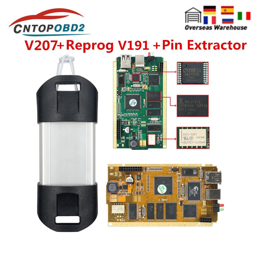 يمكن كليب لرينو رقاقة كاملة V207 مع السرو AN2135SC 2136SC الذهب PCB يمكن كليب سيارة أداة تشخيص ل 1998-2019 Reprog V191