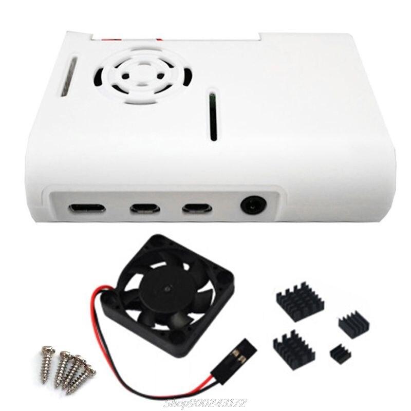 Caixa de plástico abs gabinete com ventilador refrigeração dissipadores calor para raspberry pi 4 modelo b au12 20 dropship