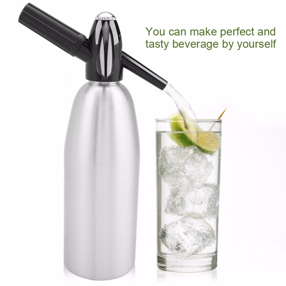 1000MLSoda Water Sifon Thuis Drinken Sap Machine Bar Bier Soda Syphon Maker Stalen Fles Soda Streamen Foam Cilinders Co2 injector
