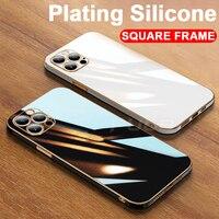 Роскошный мягкий силиконовый чехол 6D с квадратной рамкой для iPhone 11 12 Pro Max Mini XR X XS 7 8 Plus SE 2020, блестящий чехол для телефона
