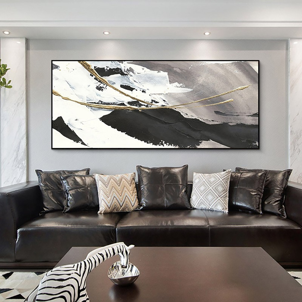 AliExpress - Large Wall Art Oil Painting On Canvas Handmade Modren Abstract White And Black Paintings Cuadros Decoration Picture Hand Painted