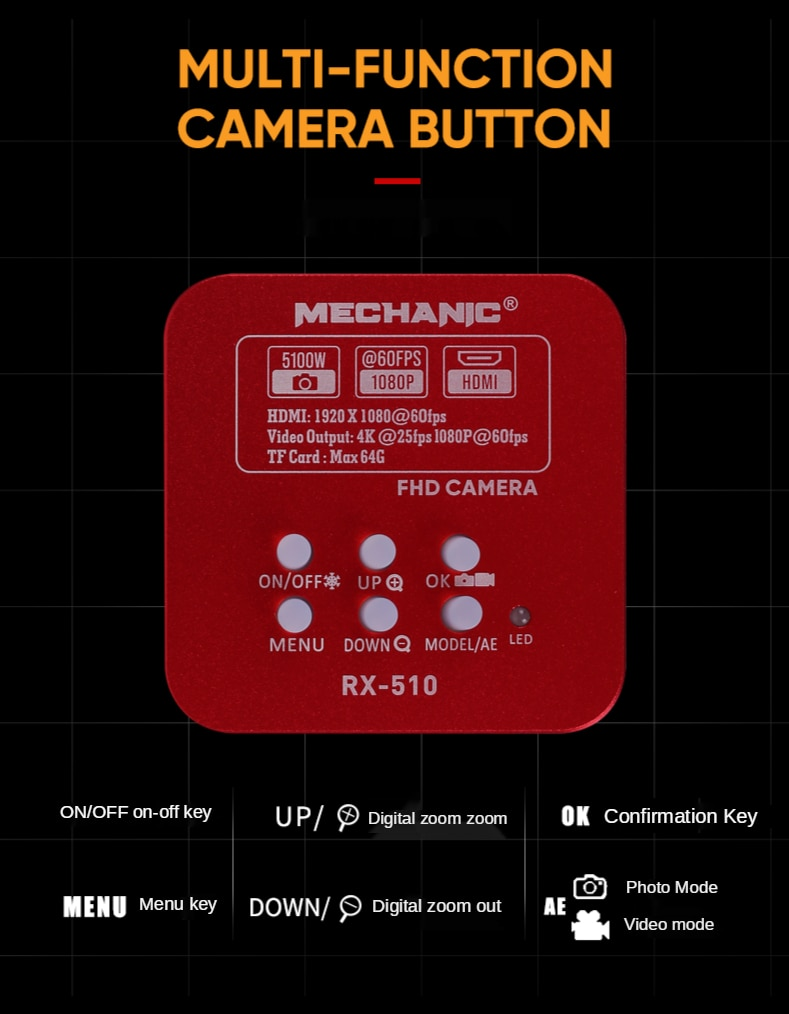 Mechanic Phone PCB Soldering Repair 4K HD Microscope Camera Trinocular Stereo Microscope 1080P VGA HDMI 5100W Camera enlarge