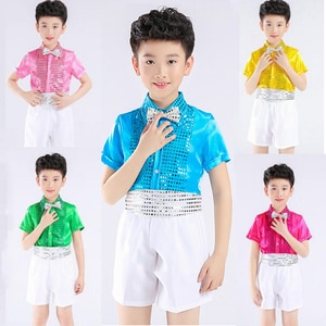 Boys Flower Children Summer Short Sleeve Sequins Party And Wedding Birthday Clothing Sets For Boys Piano Perform Dance Costume