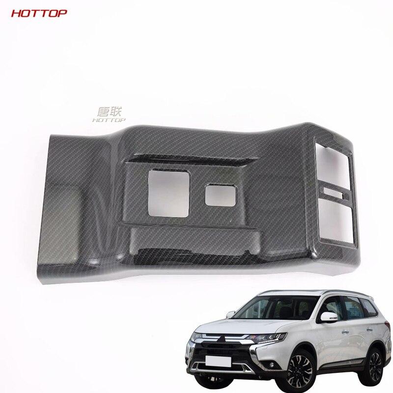 ABS fibra de carbono textura negro para aire acondicionado trasero salida de ventilación marco cubierta para Mitsubishi Outlander 2019