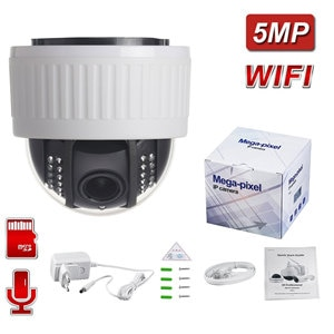 5MP Wifi ONVIF Wireless/Wired Audio Record Email Alert  Dome Camera 5x Auto Optical Zoom IP Camera TF Card Camhi