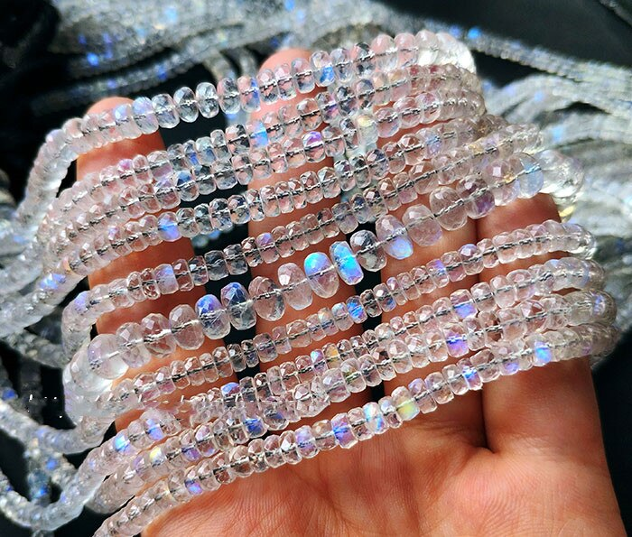 AAAAA mondstein weiß blau regenbogen licht FACETED roundel für DIY schmuck halskette 35CM FPPJ großhandel