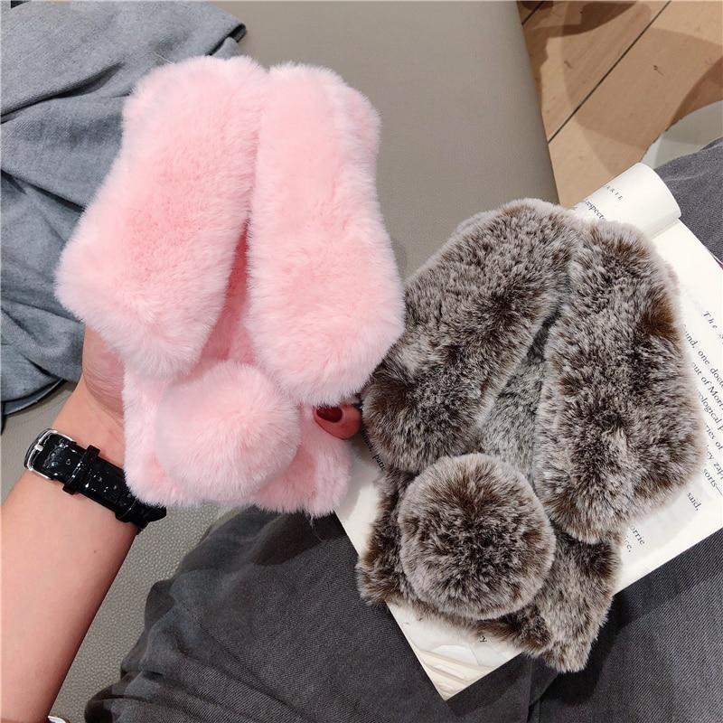 Funda de teléfono de piel de conejo suave cálido para Nokia 7,2...
