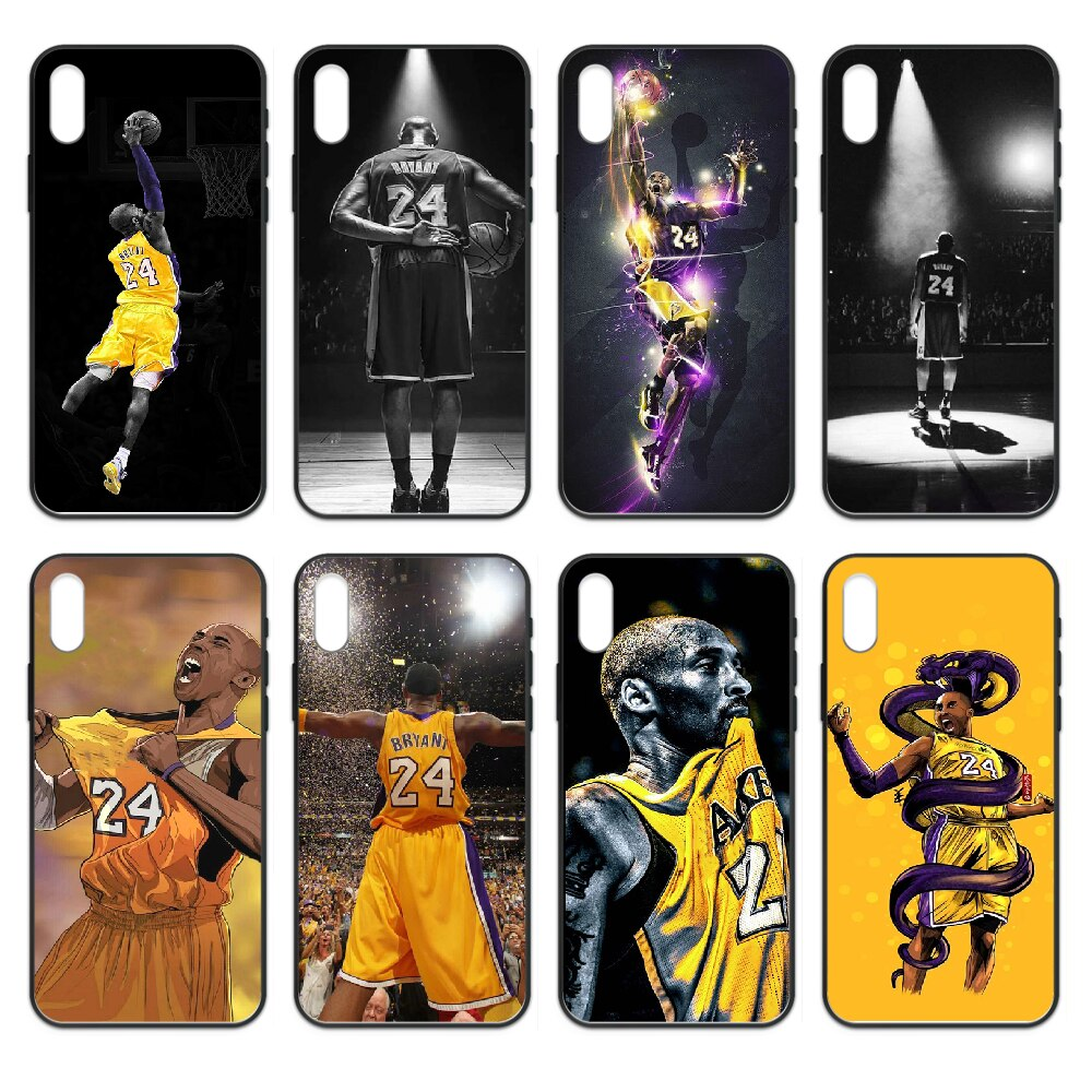 Kobe de baloncesto negro Mamba cubierta de la caja del teléfono del casco para iphone 4 4s 5 5S SE 5C 6S 6 7 8 plus X XS X XR 11 PRO MAX 2020 negro