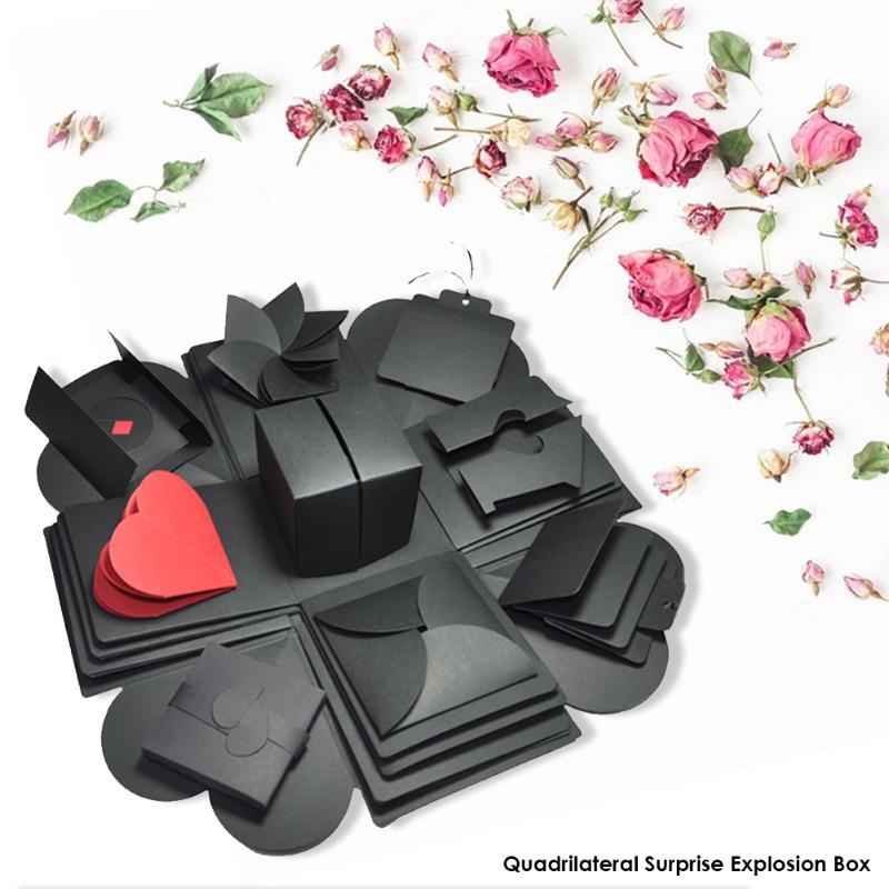 Caja de explosión cuadrilateral DIY álbum de fotos álbum de recortes bombas cajas fáciles de usar navidad regalo de San Valentín sorpresa cumpleaños