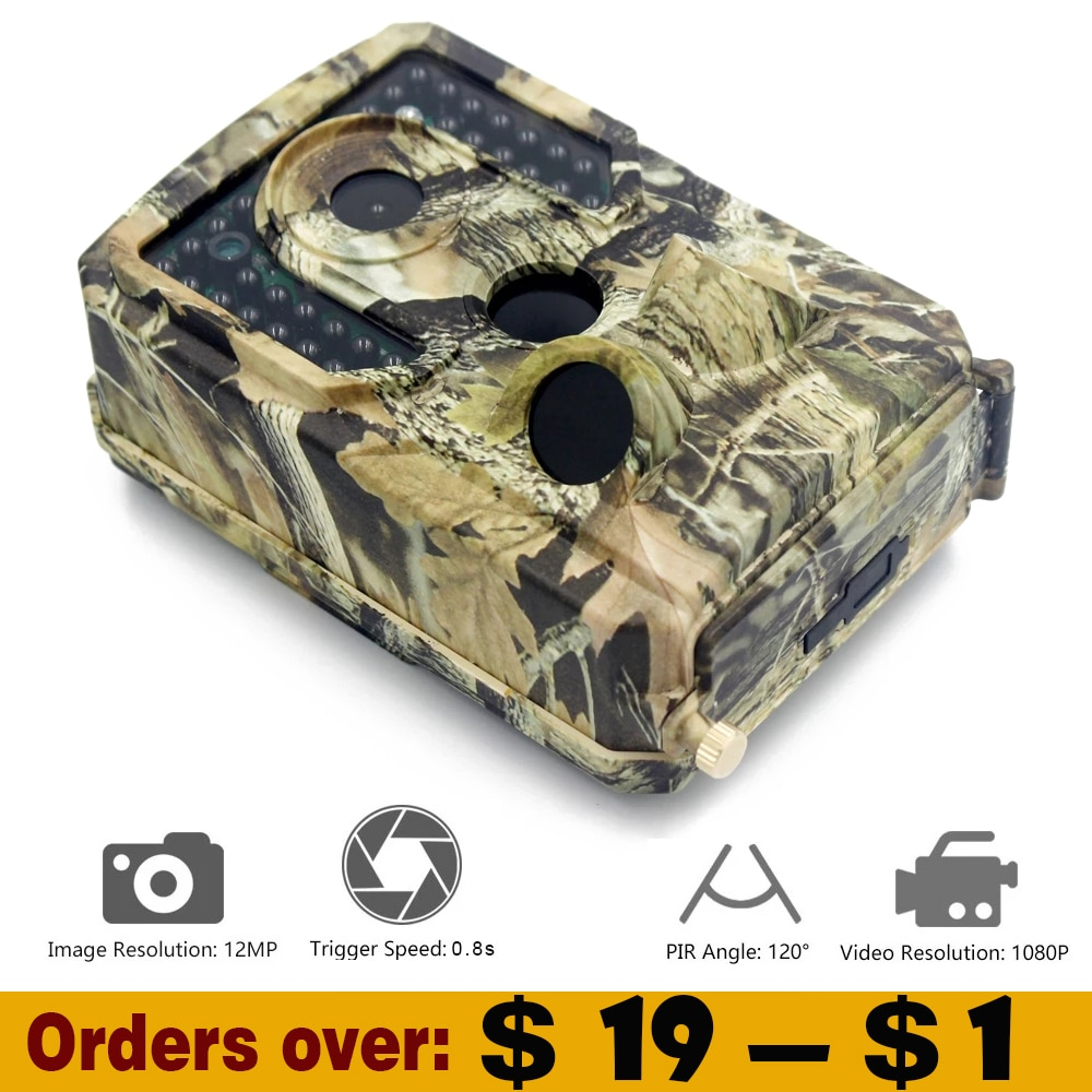 mini trail game camera night vision 1080p 12mp waterproof hunting camera outdoor wild photo traps with ir leds range up to 65ft 1080P Hunting Camera Night Vision Trail Camera Infrared 12MP Photo Trap Waterproof Outdoor Wildlife Cameras Trap