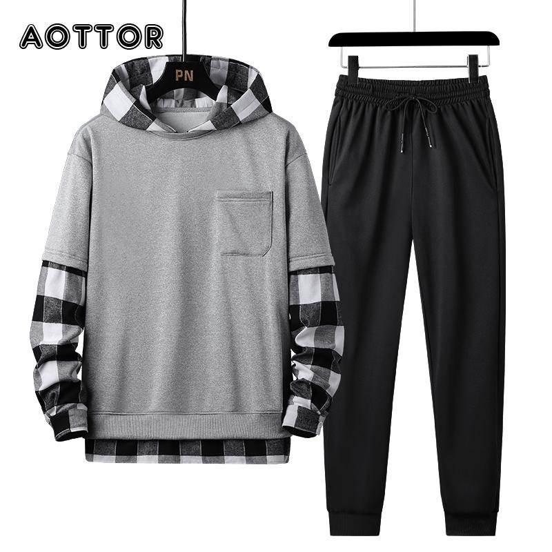 Conjunto para casas de temporada e otoo, chndal a cuadros com capucha e pantalones de retazos,, ropa de calle 4xl 2021