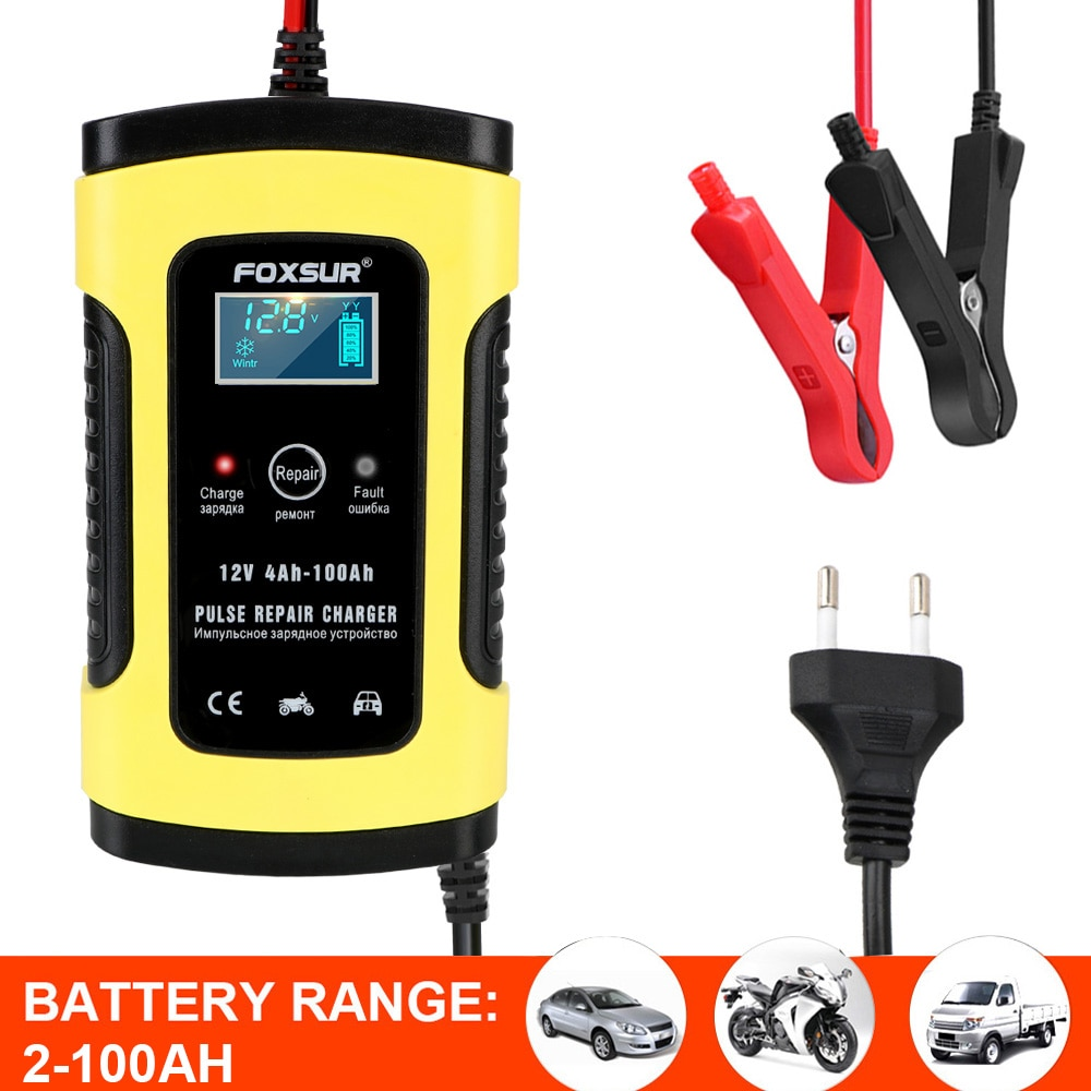 12V/6A Lead Acid Battery-Chargers Intelligent Car Motorcycle Battery Charger Digital LCD Display...