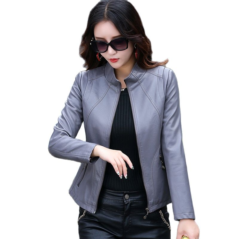 Leather Jacket Women Outwear Faux Leather Short Coats For Women Plus Size Slim Short Tops Women black jacket moto jacket women