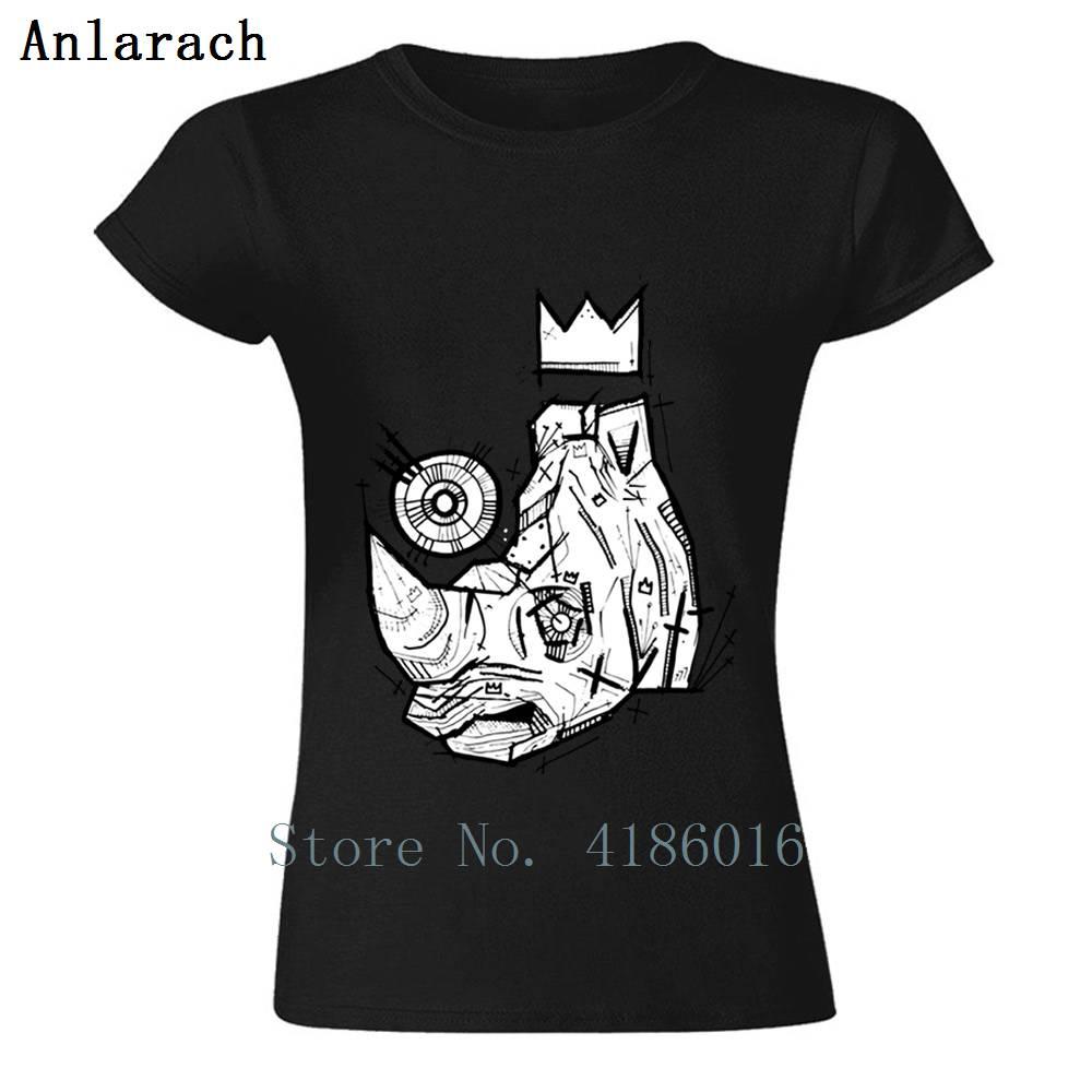 Camiseta de rey Rhino estampada para verano, Camiseta Indumentaria de algodón de...