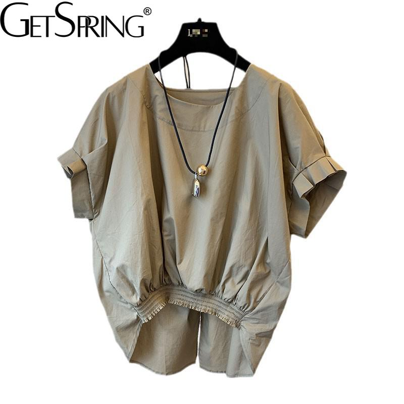 Getspring قميص المرأة بلوزة كم Batwing غير النظامية القطن المرأة الصيف البلوزات عدم التماثل انقسام ضمادة الأبيض الإناث البلوزات