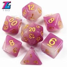 Mezcla de colores 7 unid/set T & G brillo en dados oscuros, color púrpura dado de resina D4 D6 D8 D10 D10 % D12 D20 con bolsa para juego de mesa RPG DND