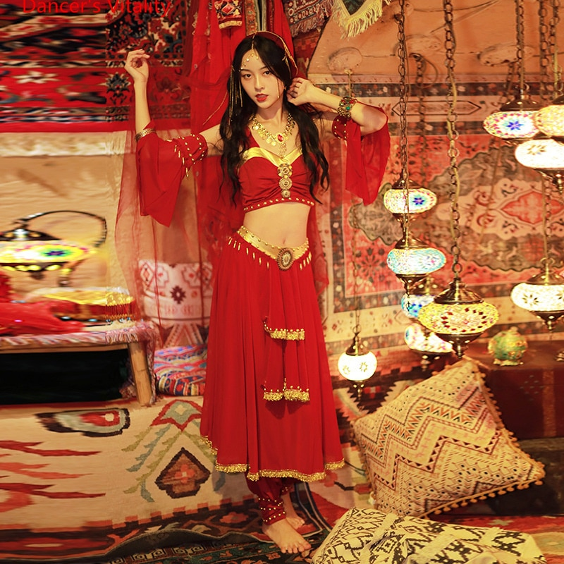 Anime Cosplay Cothes Egyptian Princess Costumes for Women Belly Dance Clothing 4pcs Suit Oriental Da