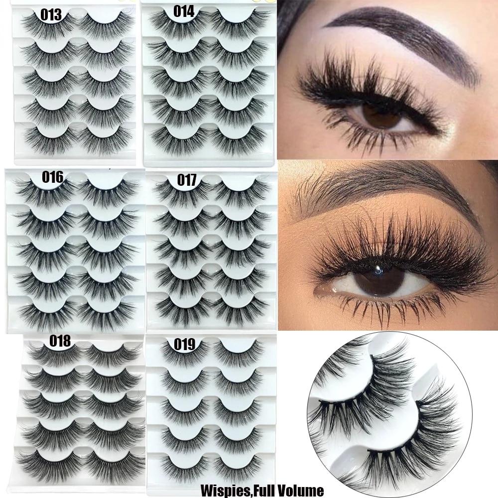 5 Pairs 6D Mink Eyelashes Natural False eyelashes Lashes Soft Fake Eyelashes Extension Makeup Wholesale недорого