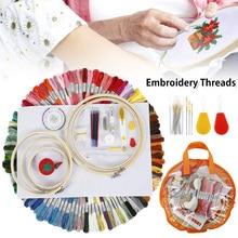 100 couleurs écheveaux broderie stylo aiguille ensemble 5 pièces bambou point de croix broderie cerceaux bricolage fil poinçon couture tricot Kit