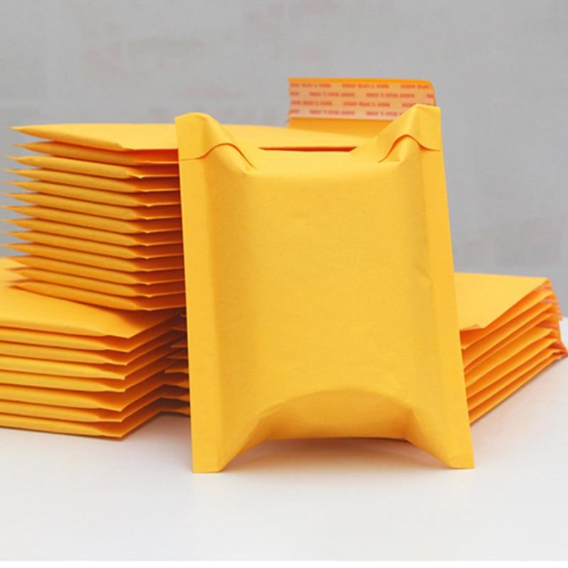 5 unids/lote, 9 tamaños, Papel Kraft amarillo, bolsa de burbujas, sobres acolchados, sobres de envío con burbujas, bolsa de correo impermeable