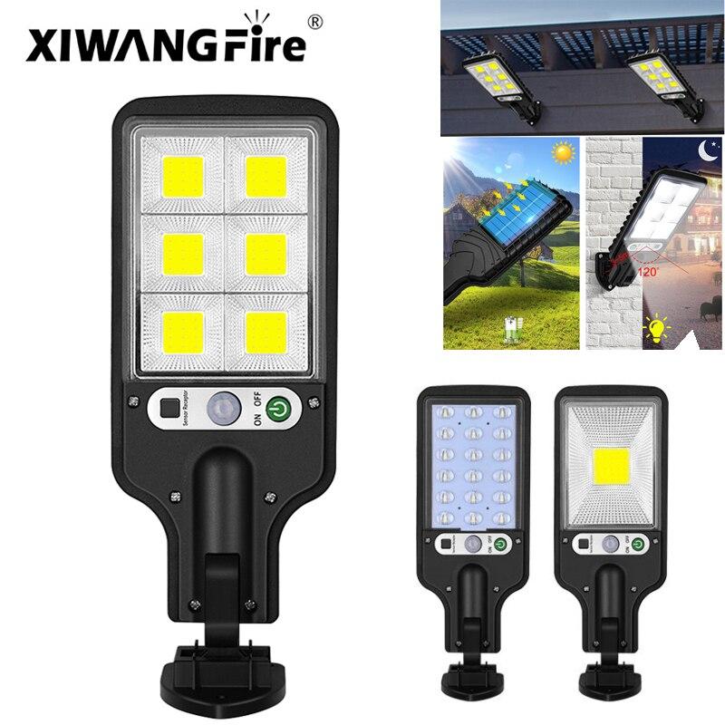 LED COB Light Solar Street Light Motion Sensor Outdoor Waterproof Street Light 3 Light Modes Safety Lighting for Garden Terrace