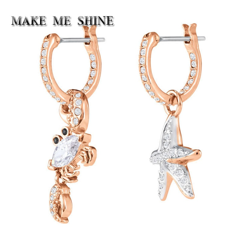 High quality SWA New WomenMarine Vitality Starfish Crab Earrings Multi-purpose Chic Wild Female Earrings ear Nails Ladies Gift