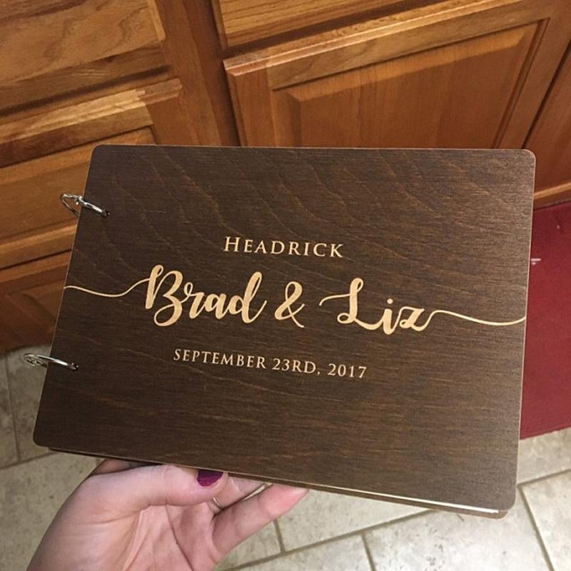 Персонализированная Свадебная книга для гостей, пользовательский свадебный альбом для гостей, деревянная книга для гостей, свадебный душ н...