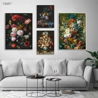 still life with flowers in a glass vase oil paintings print on canvas retro posters and prints nordic art pictures home decor