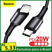 Baseus 20W PD USB Type C Cable for iPhone 12 11 Pro Xs Max Fast Charging Charger for MacBook iPad Pr
