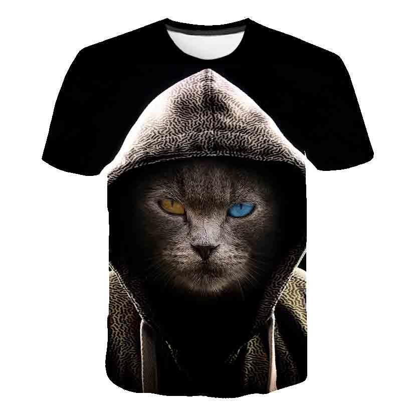 Novedosa camiseta de verano para bebé en color negro, camiseta para niño y niña en 3d con estampado de gato, camisetas de manga corta, camisetas para niños, 4-14T