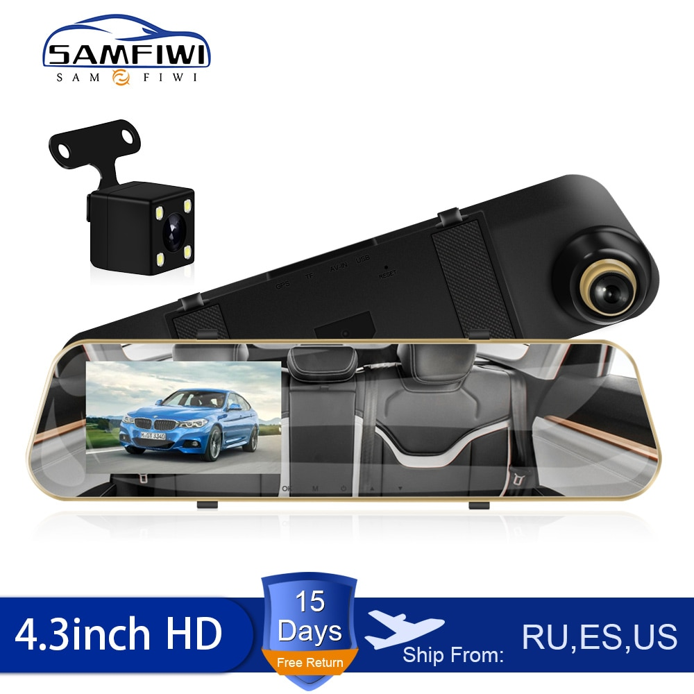 Full HD 1080P Car Dvr Camera Auto 4.3 Inch Rearview Mirror dash cam Digital Video Recorder Dual Lens