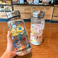1000ml cartoon pattern glass water bottle thick heat resistance drinking bottles cute milk coffee tumblers for student girl gift
